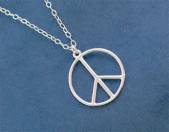Sterling Silver Peace Necklace - Solid 925 Sterling Silver
