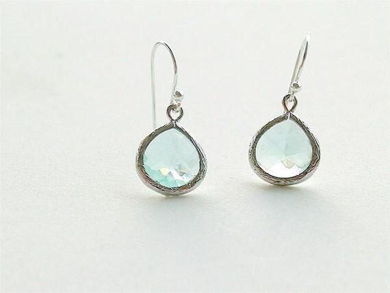 Sea Green Amethyst Drop Earring in Silver - Prasiolite Green Drop on 925 Sterling Silver Earwire