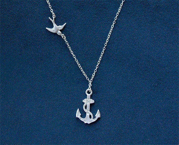 Anchor Necklace with Swallow in Silver - Sailor Necklace - Nautical Sailing Jewelry Navy Mom - 925 Sterling Silver Chain