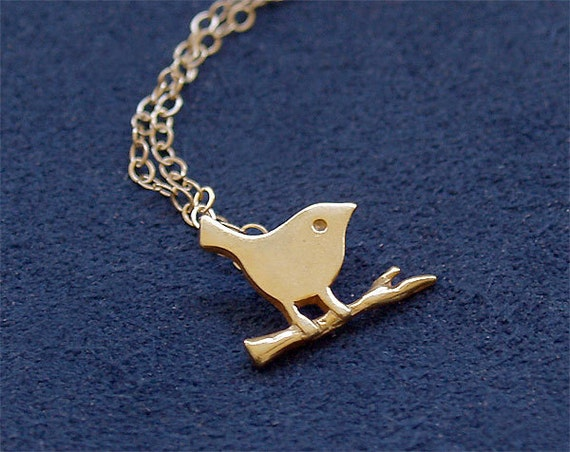 Bird Necklace in Vermeil and Gold Filled - Bird Perched on Branch - Gold Filled Chain
