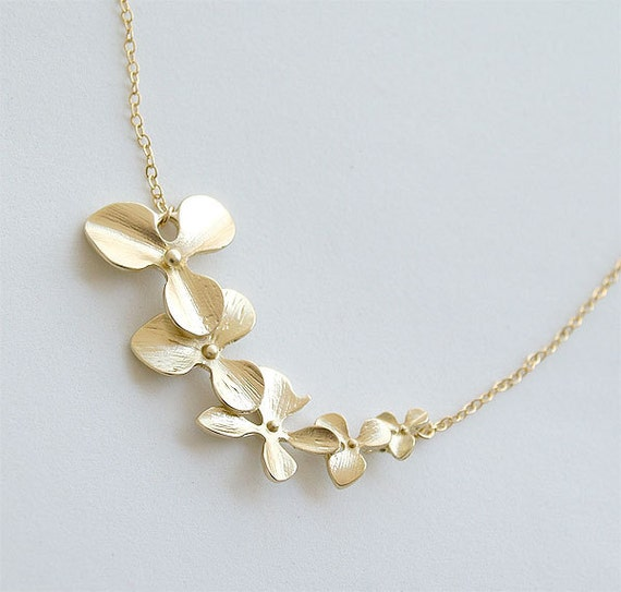 Bridesmaid Necklace Gift - Orchid Flowers Necklace - Matte Gold Orchids on Gold Filled Chain - Gifts, Wedding, Gold Bridal Jewelry