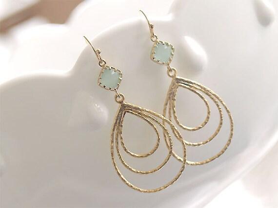 Gold Teardrop Earrings - Triple Teardrops in Seafoam Blue - Aqua Dangle Earrings on Gold Filled  Modern Jewelry Drop Earrings