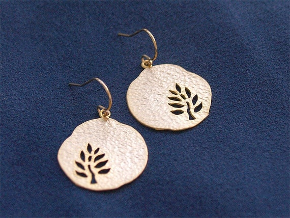 Little Tree Earrings - Hammered Disc with Tree Cutout on Gold FIlled Earwires - Nature, Gifts, Woodland Earrings