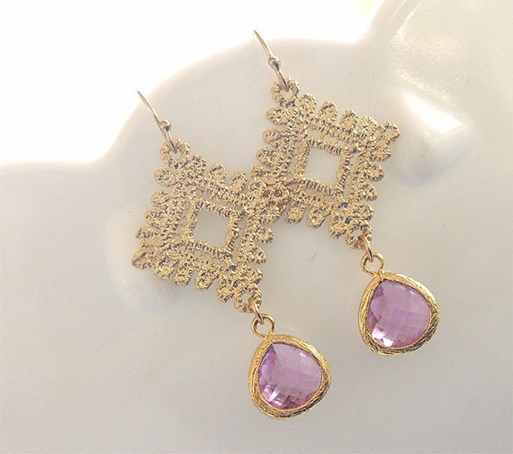 SALE - Lavender and Gold Lace Earrings - Light Purple Earrings- Purple with Gold Diamond Lace - Gold Filled Earwires