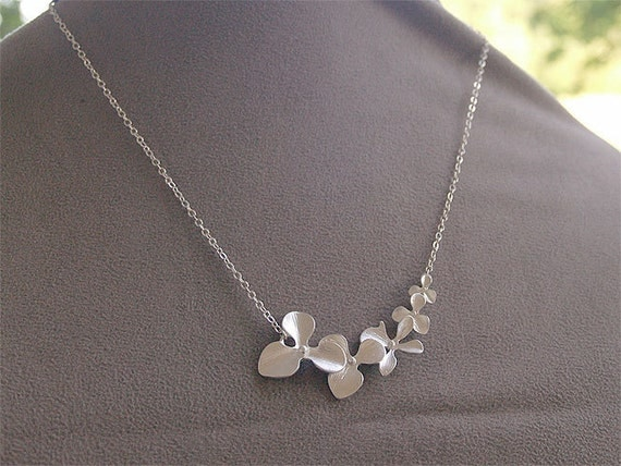 SALE - Silver Flowers Necklace - Orchid Flowers Necklace - Silver Orchids on Sterling Silver Chain - Gifts, Wedding, Bridesmaid Necklaces