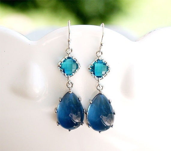 Teal and Navy on Sterling Earwire - Sapphire Blue Drop Earrings - Bridesmaid Earrings, Bridal, Gifts, Something Blue