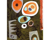 Funky retro art abstract print mid century inspired collage rich colors Eames era modernism