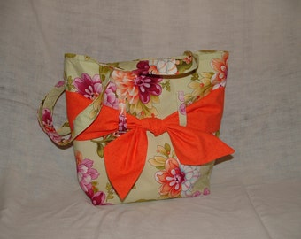 Soft Green Floral Sash Bag