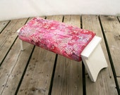 Comfort cushion for use with meditation bench. Perfect for yoga, relaxation and picnics. In Oriental Blossom and Wild Fuchsia pink fabric.
