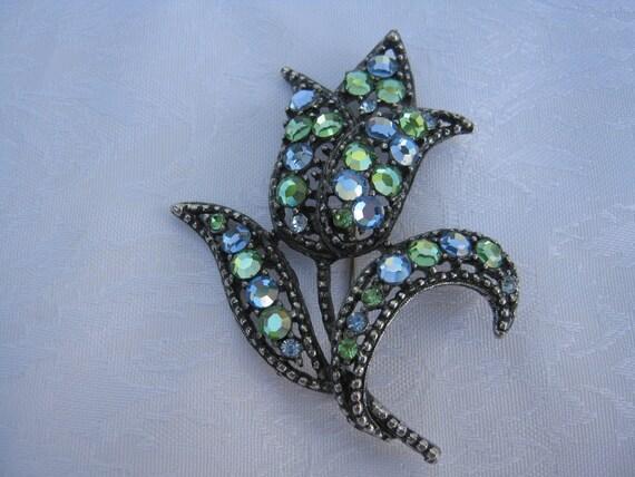 Weiss classic blue green tulip design rare Weiss brooch