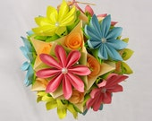 Origami paper ball. Flower multicolor Kusudama.