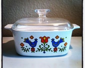 Vintage Country Festival Corning Ware 1.5 Quart Casserole Baking Dish - 1975