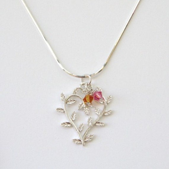 Mother's Grandmother's Sterling Silver and Child Birthstone Swarovski Crystal Necklace