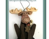 Moose Wall decor, Hanging Decoration Accent, salt dough and wood