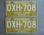 License Plate Matching Set Michigan 1970