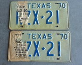 Texas License Plate Set 1970