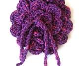 Crocheted Rose Bar Pin - purple brooch,Cotton Jersey,silvery,Fabric Brooch Jersey Purple by SNOflowers