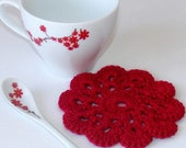 Red Handmade Doily Crochet Coaster Set of 4 ,approx. 11.5cm 4.53inch