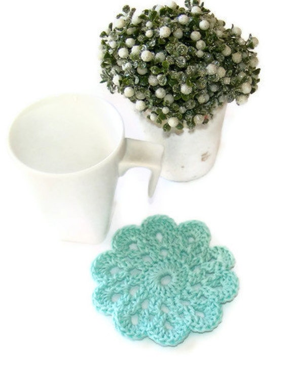 Blue  Turquoise Handmade Doily Crochet Coaster Set of 4 ,approx. 9cm 3.54inch