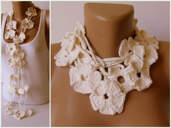 Bamboo necklace,christmas gift,Flower Hand Crochet Lariat Scarf ,white Bamboo Yarn,soft,all seasons,fashion accessories,long scarf