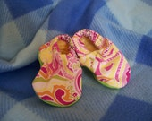 Funky Baby Booties in Pink, yellow and green