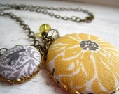 Yellow and Gray Initial Necklace, Monogrammed Jewelry, Sunflower Necklace, Initial Charm Necklace, Personalized Sunflower Jewelry