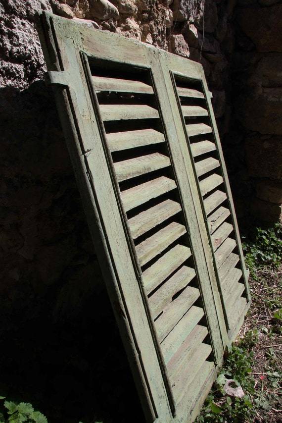 RESERVED FOR ED Vintage Italian distressed wooden shutters