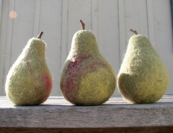 Set of 3 Needle Felted Wool Pears