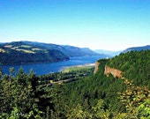 Columbia River Gorge - 8x10 Photography Print - Landscape Photo, Oregon, River, Blue Sky, Green Forest, Mountains, Trees, Nature, Scenic