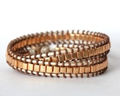 SALE - Gold Square Metal Beads On Pearl Leather Double Wrap Bracelet
