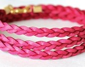 Natural Organic Bright Magenta Color Leather Braided Wrap Bracelet With Matching Charm Bead