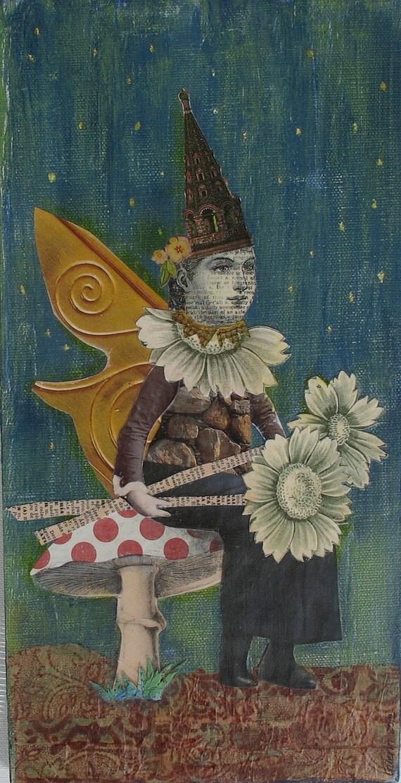 Woodland Fairy Seated on Mushroom-Teal and Gold-Original Collage