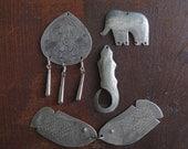Destash Costume Jewelry Bits - 5 incised hill tribe animal pendants