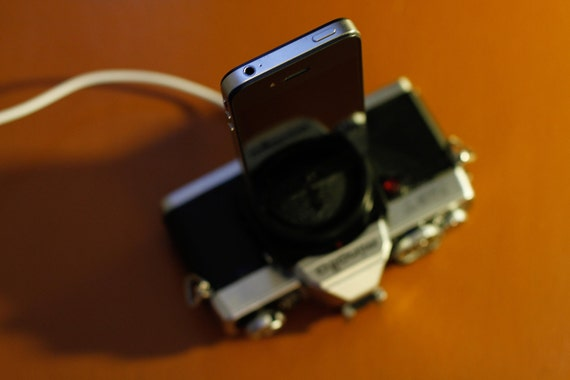 iPhone charger / dock - made from vintage Minolta camera