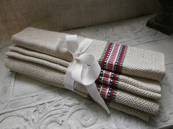French Vintage Linen,2 Unused Torchons Towels Projects
