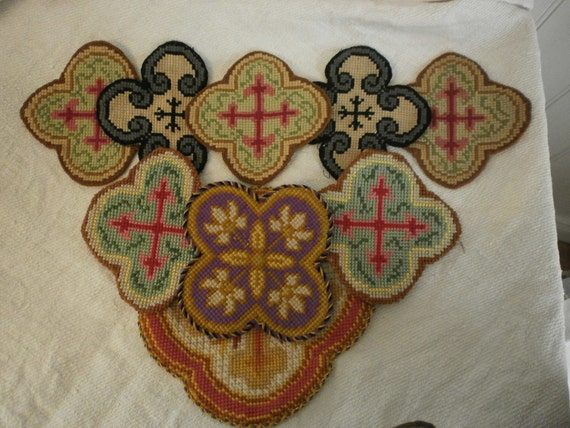 Reserved French  Shabby Chic Gothic  9  Hand Embroidered Panels Textiles