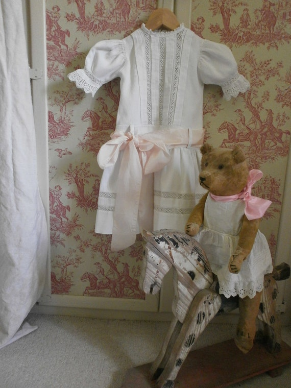Reserved  for R French Childs Dress,Lace White Pique Pale Pink Silk
