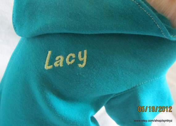 20% off - Personalized - Dog Hoodie / Sweater in Light Sea Green size Small