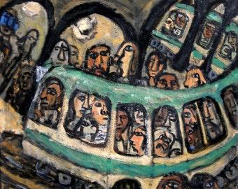 Dans Le Métro, Paris. 20x24 inch Oil on Linen, Original Contemporary Modern Subway Painting, Expressionist Signed Original Fine Art