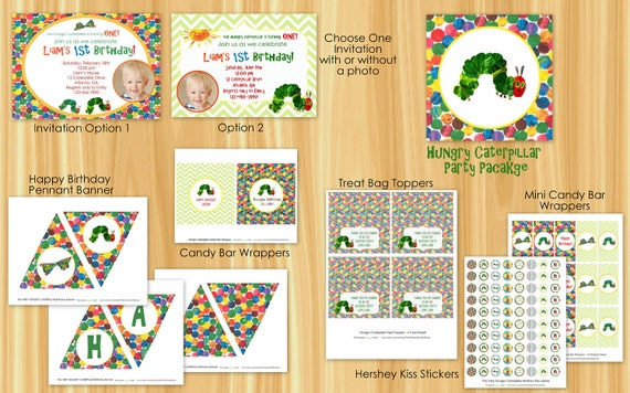 Custom Printable The VERY HUNGRY CATERPILLAR Birthday Party Package