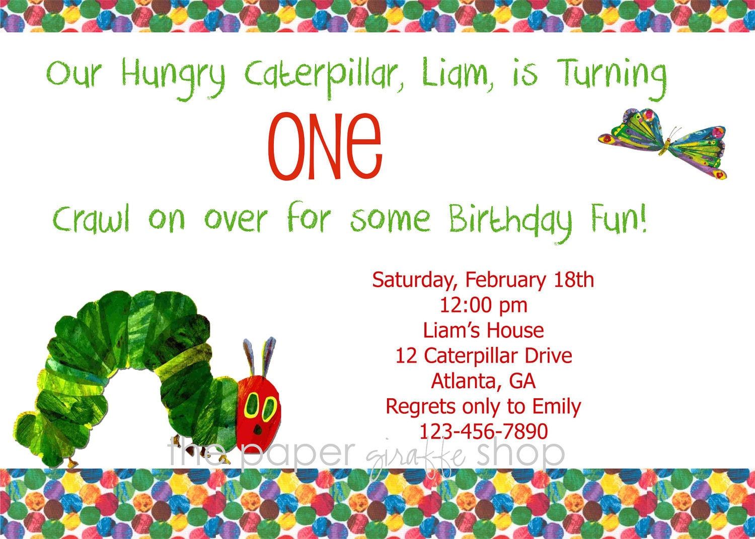 Very Hungry Caterpillar Invitations - 2018 images & pictures - A ...