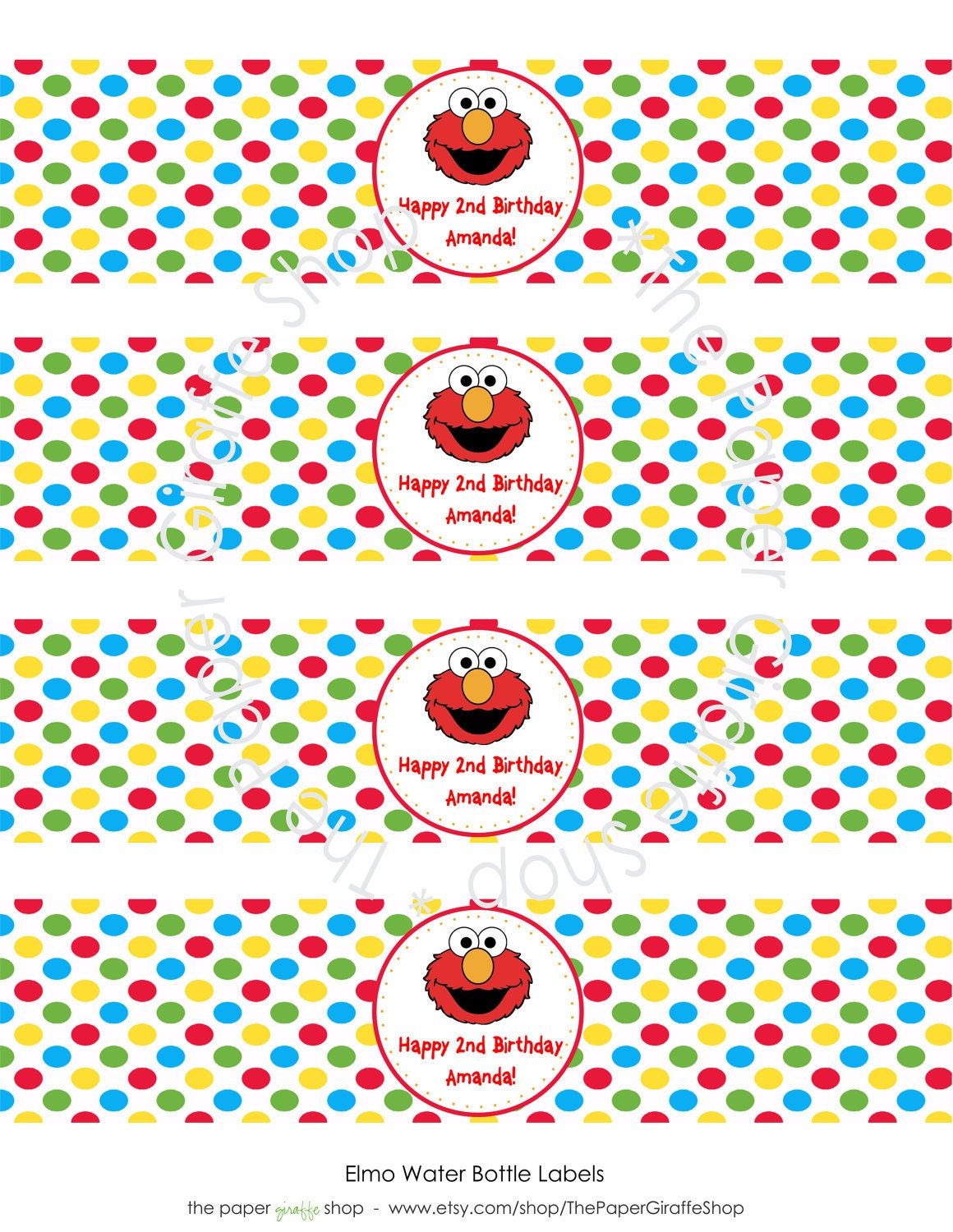 Custom Printable ELMO Birthday Party Water by ThePaperGiraffeShop