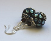 Handmade Lampwork Earrings, Rich Chocolate with Metallic Aqua spots and Swarovski Crystals, Sterling silver hooks