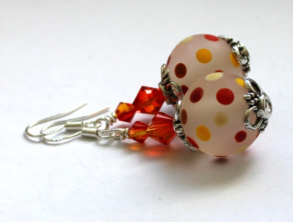 Handmade beads with colourful spots and Swarovski crystal earrings, Sterling silver hooks