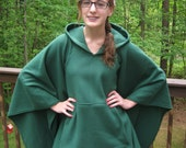 GREEN HOODY PONCHO made of fleece -  1 size for teens or women