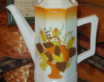 Mikasa Coffee Pot, Terra Stone Gloucester rare, Vintage Serving 1970's, 7148 harvest decor