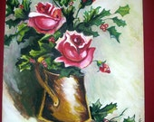 Vintage Antique Christmas Painting ROSES & HOLLY  Folk Art Ca. 1920  Cottage Chic