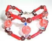 Double strand quartz bracelet, unique woven pink jade, strawberry quartz and crystal cuff bracelet