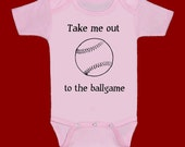 Take me out to the ballgame ... Pink baseball funny screenprint baby onesie bodysuit creeper one piece shower gift
