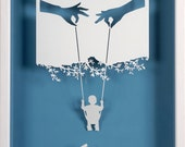 Mom, dad, me and the world - Paper cut and paper sculpture - photographic reproduction art card